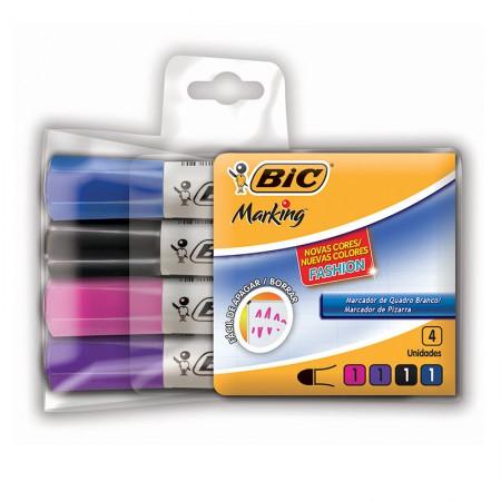 Pincel para quadro branco Fashion - com 4 cores - 930779 - Bic