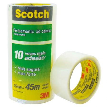 Fita para embalagem transparente - 45mm x 45m - com 4 unidades - 5802 - 3M
