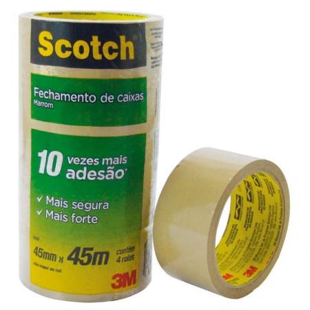 Fita para embalagem marrom - 45mm x 45m - com 4 unidades - 5802 - 3M