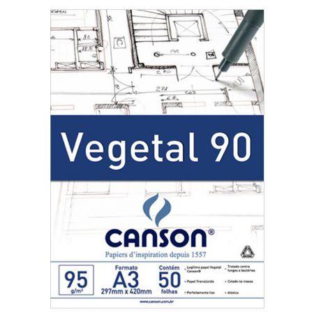 Papel vegetal liso A3 95g - com 50 folhas - Canson