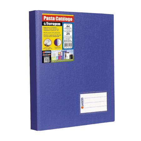Pasta catálogo A4 1173 - azul - com 25 plásticos - Chies