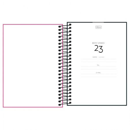 Agenda espiral diária capa plástica Neon 2021 - Laranja - Tilibra