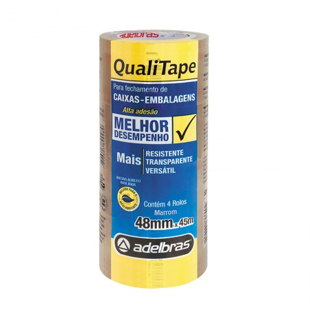 Fita para embalagem Marron - 48mm x 45m - Qualitape - com 4 unidades - Adelbras