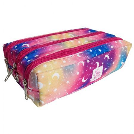 Estojo escolar triplo com ziper - 113-0152/20 - Magic Colors - Franesb