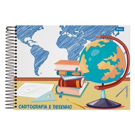 Caderno espiral capa dura cartografia - 96 folhas - Foroni