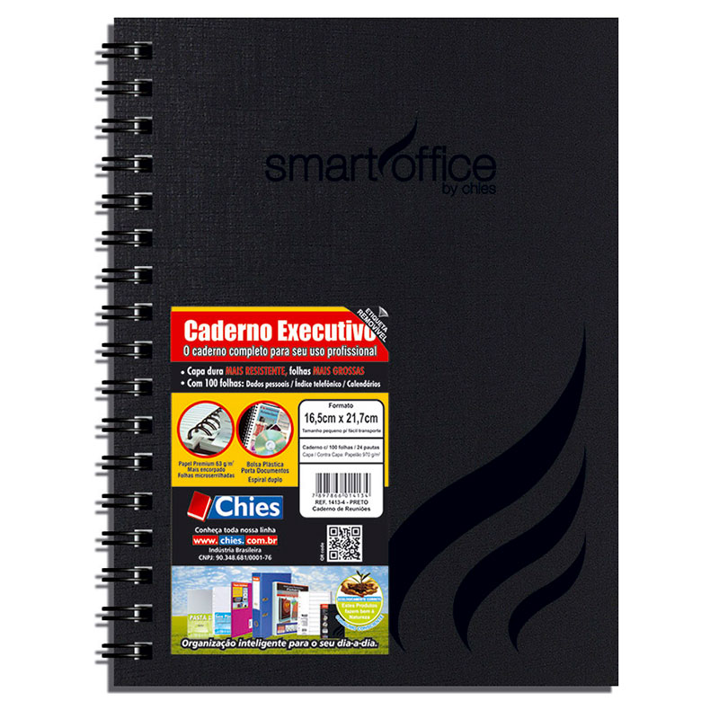 Caderno executivo espiral capa dura Smart Office - 100 folhas - Chies