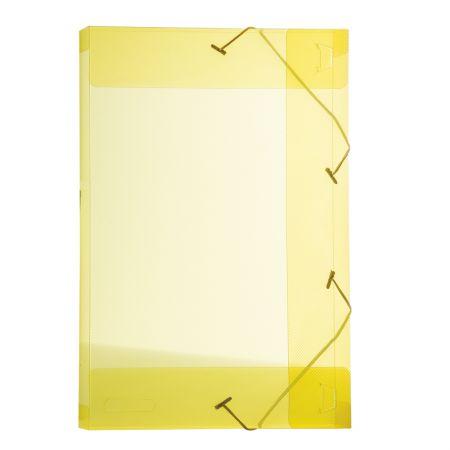 Pasta com aba elástico 1/2 ofício lombo 25mm - transparente amarelo - 0253.A - Dello