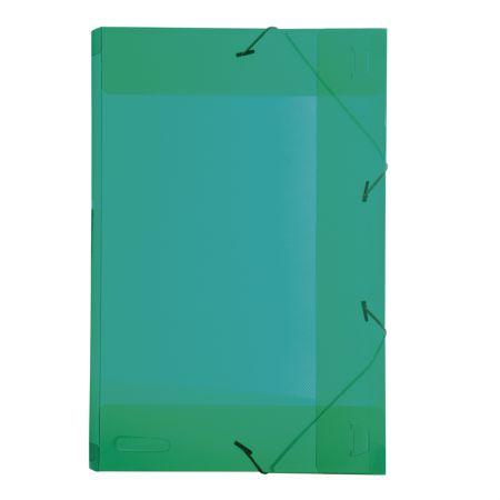 Pasta com aba elástico 1/2 ofício lombo 25mm - transparente verde - 0253.T - Dello