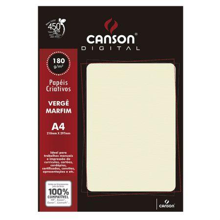 Papel vergê A4 180g marfim - com 20 folhas - Canson