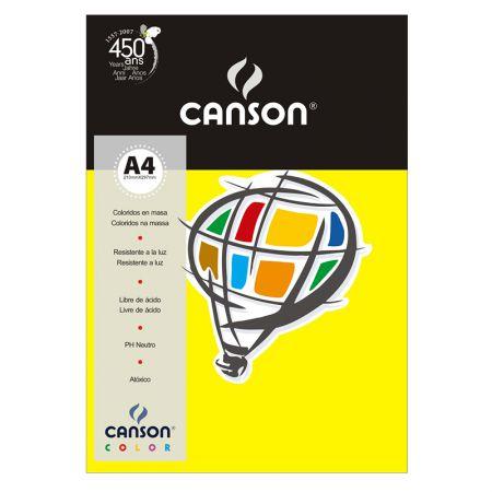 Papel Color Vivaldi A4 120g amarelo - com 15 folhas - Canson