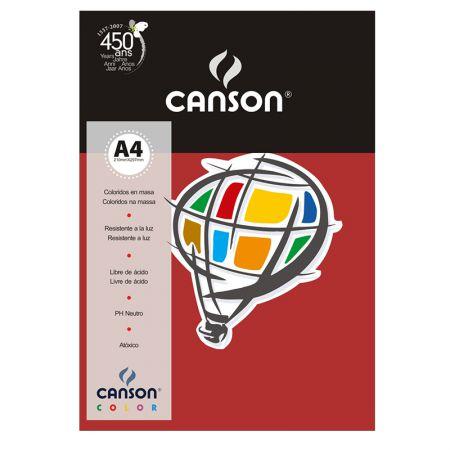 Papel Color Vivaldi A4 120g vermelho escuro - com 15 folhas - Canson