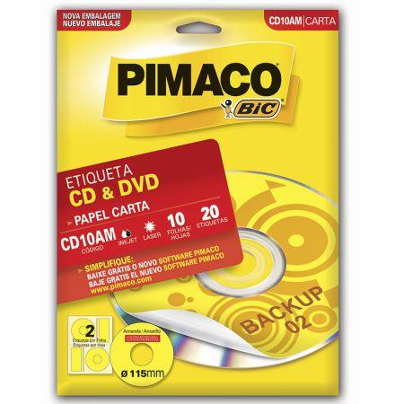 Etiqueta inkjet/laser CDPPLY CD10AM - amarelo - com 10 folhas - Pimaco