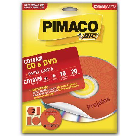 Etiqueta inkjet/laser CDPPLY CD10VM - vermelho - com 10 folhas - Pimaco