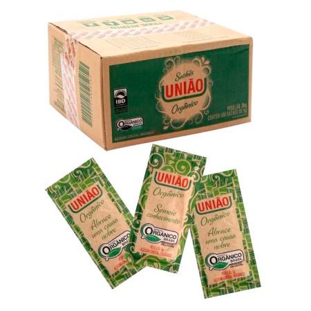 Açúcar cristal orgânico em sachê 5g - caixa com 400 unidades - União