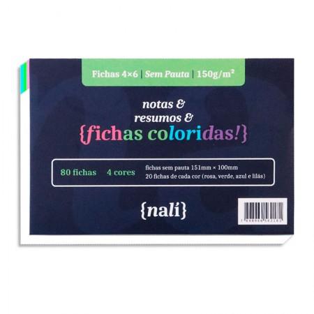 Ficha sem pauta colorida 4x6 - pacote com 80 folhas - Nali