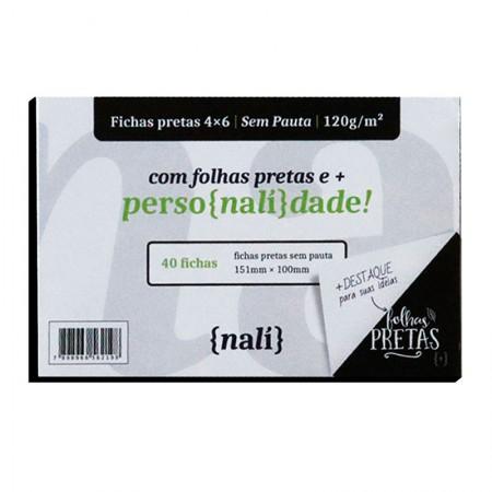 Ficha sem pauta preta 4x6 - pacote com 40 folhas - Nali