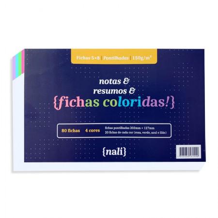 Ficha pontilhada colorida 5x8 - pacote com 80 folhas - Nali