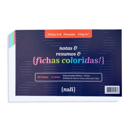 Ficha pautada colorida 5x8 - pacote com 80 folhas - Nali