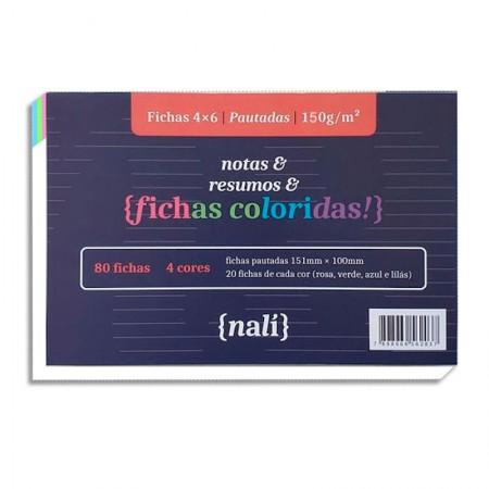 Ficha pautada colorida 4x6 - pacote com 80 folhas - Nali
