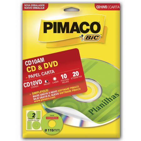 Etiqueta inkjet/laser CDPPLY CD10VD - verde - com 10 folhas - Pimaco