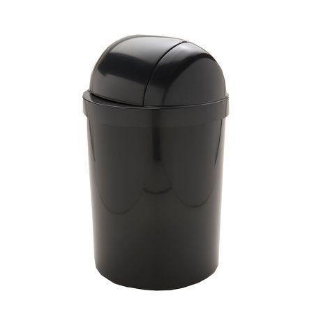 Cesto de lixo plástico 15 litros - T-0705TPR - Preto - com tampa basculante - Trilha