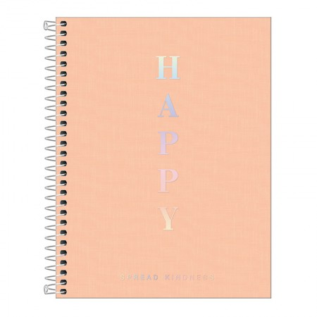 Caderno capa plástica colegial 10x1 - 160 folhas - Happy - Coral pastel - Tilibra