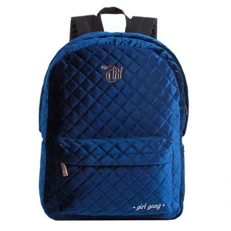 Mochila escolar grande sem roda - 11314/19 - Capricho Veludo Azul - DMW