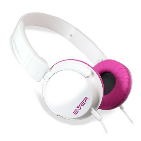 Fone de ouvido com microfone DJ EVHP10M/WF - Branco com Rosa - Evertech