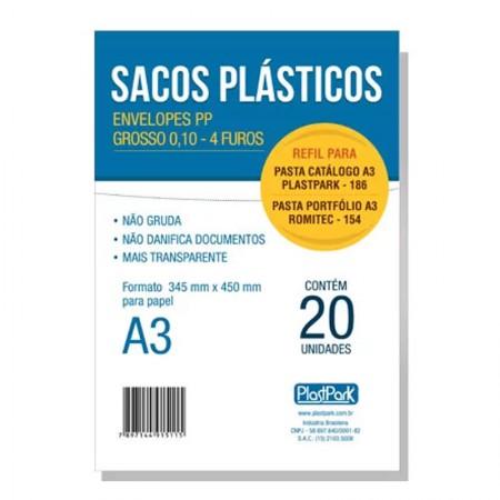 Envelope plástico A3 0.10 4 furos - pacote com 20 unidades - Plast Park