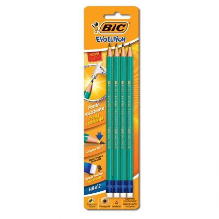 Lápis preto Evolution com borracha - com 4 unidades - 845963 - Bic