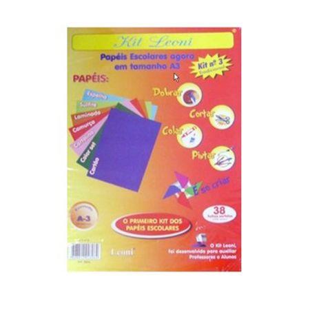 Kit Leoni papéis escolares A3 NR 3 - pacote com 38 folhas - Leoni