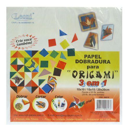 Papel origami 3 em 1 - pacote com 60 folhas - Leoni
