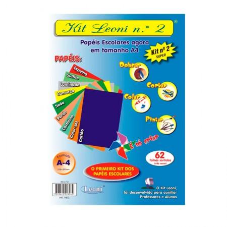 Kit Leoni papéis escolares A4 NR 2 - pacote com 62 folhas - Leoni