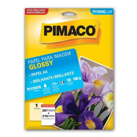 Papel glossy brilhante A4 - PI1050G - com 10 folhas - Pimaco