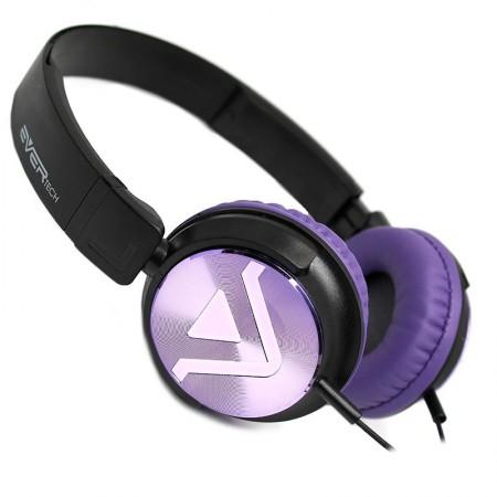 Fone de ouvido com microfone DJ EVHP20M/BP - Preto com Roxo - Evertech