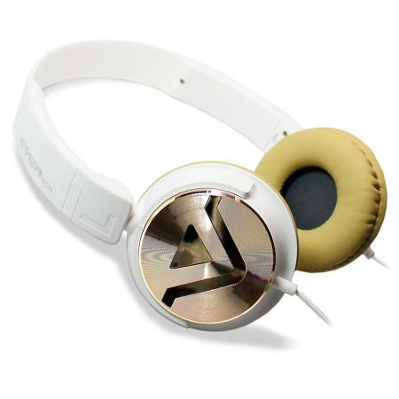 Fone de ouvido com microfone DJ EVHP20M/WC - Branco com Dourado - Evertech