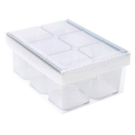Caixa organizadora de objetos com 6 divisões - cristal - 2193.H.004 - Dello