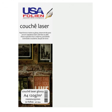 Papel fotográfico couchê laser glossy A4 120g - 8325 - com 50 folhas - Usa Folien