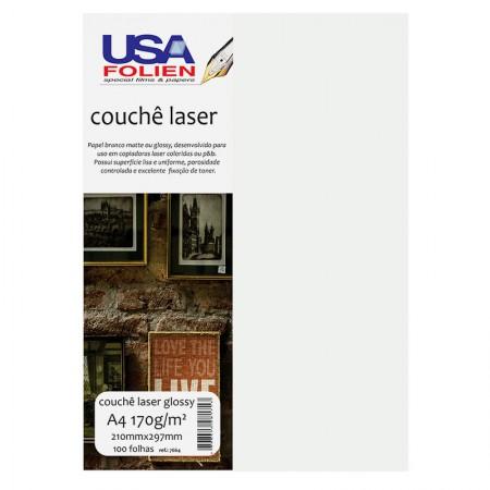 Papel fotográfico couchê glossy A4 170g - 7664 - com 100 folhas - Usa Folien