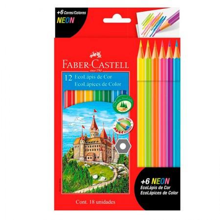 Lápis de cor 12 cores + 6 Neon - 120112+6N - Faber-Castell