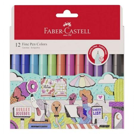 Caneta hidrográfica Fine Pen Colors - com 12 Cores - FPB/ES1ZF - Faber-Castell