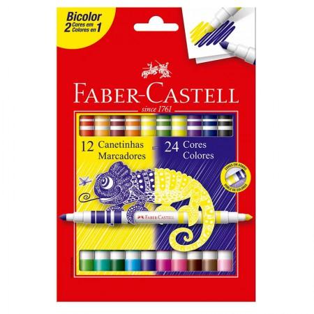 Caneta hidrográfica bicolor - 150612N - 2 em 1 com 24 cores - Faber-Castell