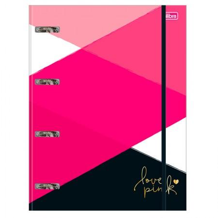 Fichário universitário com 4 argolas - Love Pink - 233056 - Tilibra