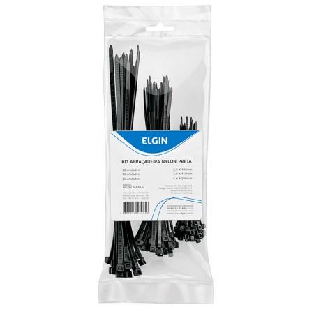 Abraçadeira Nylon preto Combo - Pacote com 125 unidades - Elgin