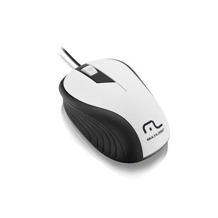 Mouse emborrachado branco e preto c/ fio usb - MO224 - Multilaser