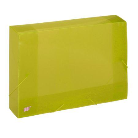 Pasta com aba elástico ofício lombo 50mm - transparente amarelo - CX050S/AM - Yes