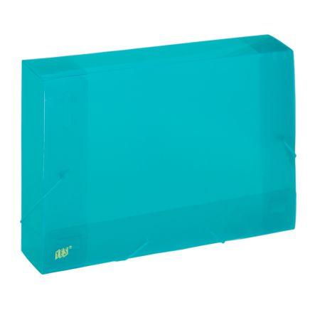 Pasta com aba elástico ofício lombo 50mm - transparente verde - CX050S/VD - Yes