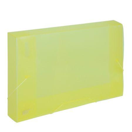 Pasta com aba elástico ofício lombo 40mm - transparente amarela - CX040S - Yes