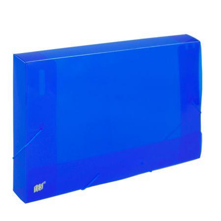 Pasta com aba elástico ofício lombo 40mm - transparente azul - CX040S - Yes