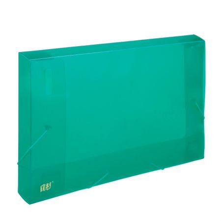 Pasta com aba elástico ofício lombo 40mm - transparente verde - CX040S/VD - Yes
